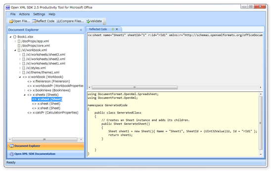 Open XML SDK Productivity Tool for Microsoft Office